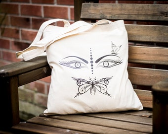 Butterfly Mouth Tote Bag | Handmade | Canvas Tote Bag | Personalised bag | Handbag | Shopping bag | Printed Bag