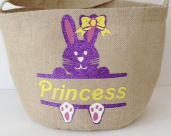 Princess Burlap Personalized Easter Basket, Bunny and Name Easter Tote, Ready to Ship Princess BunnyEaster Basket,