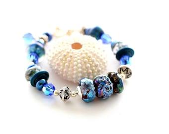 Cobalt Blue Bracelet. Iridescent Glass Bead Bracelet. Dark Blue Glass Beads. Swarovski Crystals. Bali SS Beads. Lampwork Bead Jewelry.