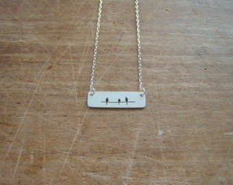 landscape view, three birds on a wire necklace, sterling silver