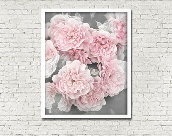 Beautiful Minimalist Pale Pink Roses INSTANT PRINTABLE DOWNLOAD Flower Rose Garden Gift Wall Art Digital Poster Print