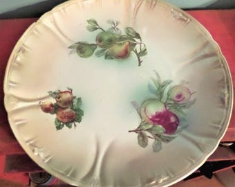 Franz A. Mehlem Plate Charger.  Yellow/Green with apples, pears and plums.  1800's.