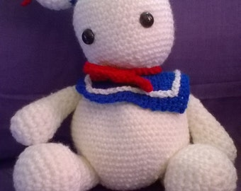 stay puft marshmallow man ghostbusters fans crochet handmade amigurumi gift idea