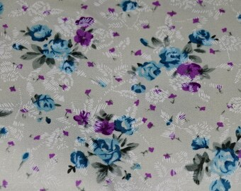 """Flowers"" pattern cotton fabric ECRU background"