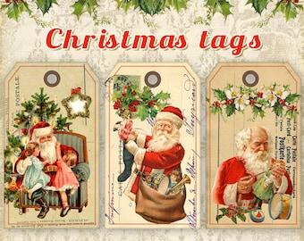 Christmas Gift Tags Printable Christmas Tags on Digital Collage Sheet Printable downloads Santa Gift Tags - CHRISTMAS SANTA TAGS