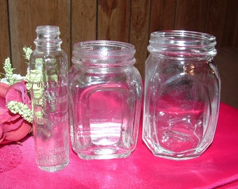 3 Great Clear Glass Bottles Omega Oil and others