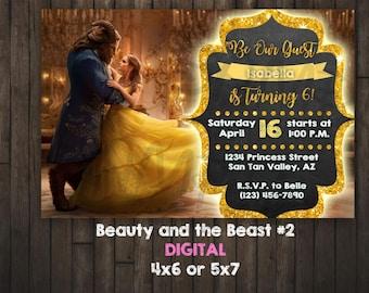 Beauty and the Beast Invitation, Princess Belle, DIGITAL