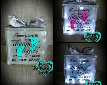 Baby Angels (Memorial) Light up glass block memorabilia for loss of baby or loss of child