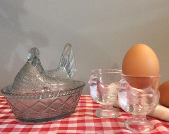 French Vintage Glass Hen on a Basket with Chick Egg Cups, Opaline French Bonbonniere, French Lidded Sweet Jar, Chick Shaped Egg Cups