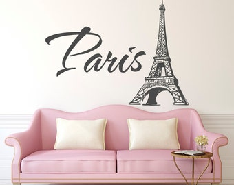 Paris Eiffel Tower Wall Decal  Paris Vinyl Wall Decal Letters  Paris  Bedroom Decor