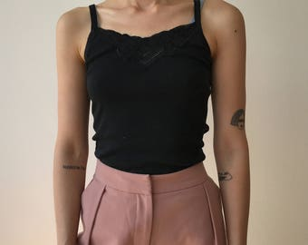 Hez Berlin – 80s Women's Vintage Black Basic Tank Top XS/S Size 100% Cotton Vintage Women's Classic Tops Inner-Wear From Germany