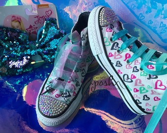 Jojo Siwa Inspired Custome Converse Shoes and Authentic Signature Hair Bow Set