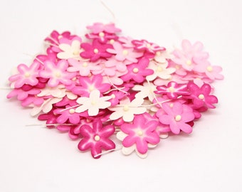 70 pcs - Shades of pink mulberry paper tiny daisy flowers