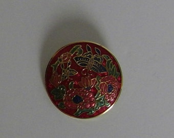 Cloisonne butterfly and flower brooch