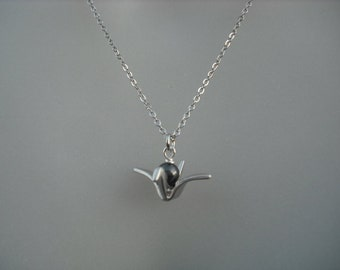 Sterling Silver Chain - origami paper crane necklace