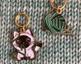 Kittens and yarn Stitch Markers, Progress Keepers