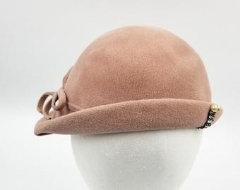 Vintage 1930s DuBarry Czechoslavakia Dusty Pink Cloche Hat