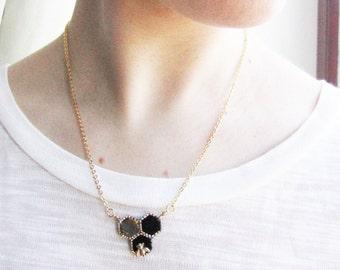 Valentine's Day GiftBee Necklace Black honeycomb geometric necklace Honey Bee  necklace