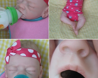 OPEN MOUTH reborn girl, holds full pacifier, & Faux formula bottle, ready to ship!