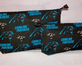 Carolina Panthers themed Zipper Pouches - Set of 2.