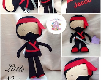 Little Ninja Fabric Doll Handmade and Personalised