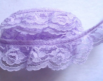 Ruffled Lace, 1+1/4 inch wide orchid color selling by the yard