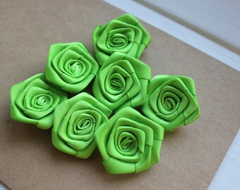 Large Satin Ribbon Roses Green Fabric SET of 7 Apple Green DIY Roses Sewing 40mm Headband Scrapbooking Embellisment Spring Summer Decor