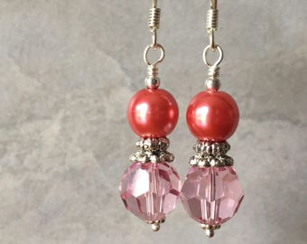 Coral Pearl and Crystal Earrings, Pearl Earrings, Swarovski Crystal Dangles in Antiqued Silver, Coral Jewelry