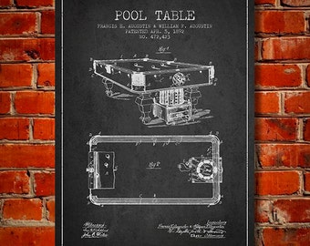 1892 Pool Table Patent, Canvas Print,  Wall Art, Home Decor, Gift Idea