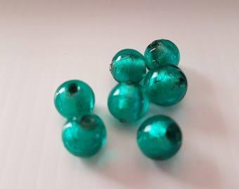 8mm Emerald Green Center silver glass beads
