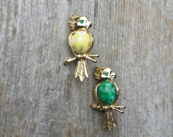 Pair of Green and Yellow Cabochon Parrot Scatter Pins