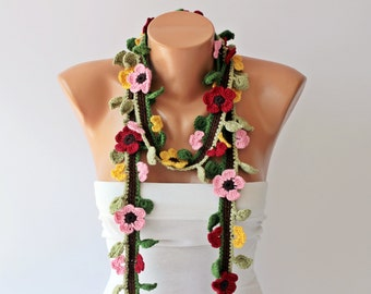 Crochet lariat necklace scarf  colorful flower scarf woman scarf gift