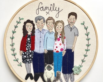 Embroidered Family Portrait, Family Gift, Embroidery hoop, Hoop Art, Applique, Illustration, Family Illustration