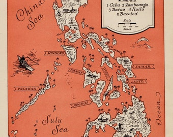 1940s Vintage Philippines Cartoon Map Philippine Islands Print Beach House Decor Gallery Wall Art Map Collector Gift for Traveler