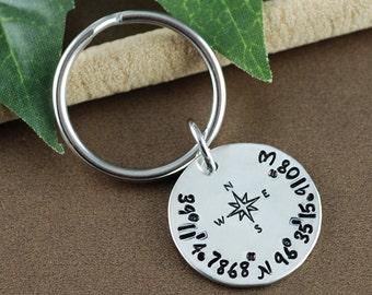 Coordinate Keychain | Longitutde Latitude Keychain | GPS Coordinate Key Chain | Men's Anniversary Gift | Personalized Gift for Him