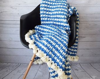 "DIY Crochet PATTERN - Crochet Emmi Throw Blanket 46"" x 63"" (2018002) afghan, crochet pattern, houndstooth, pompom, blue, throw blanket, hood"