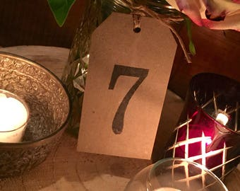 Kraft shipping tag style table numbers
