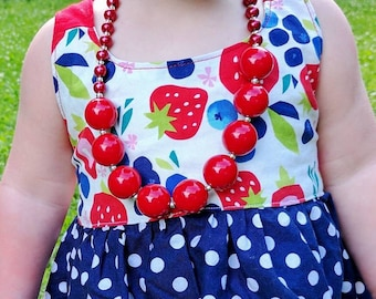 Red Chunky Necklace, Bubblegum Necklace, Red Pearl Necklace, Kids Jewelry, Toddler Girl Chunky Bubblegum, Baby Necklace, Birthday Gift