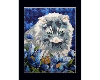 Card Art Quilt with Cat (CA017)