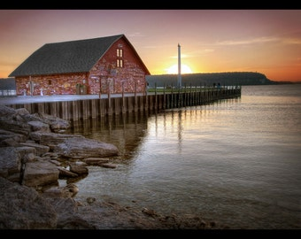 Door County, WI - Old Building and Pier at Sunset