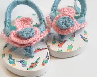 Crochet Sandal, Girl Sandal, Toddler Sandal, Thong Sandal, Flowergirl Sandal, Bird Sandal, Sandal with Heel Strap, Beach Shoe, Summer Shoe
