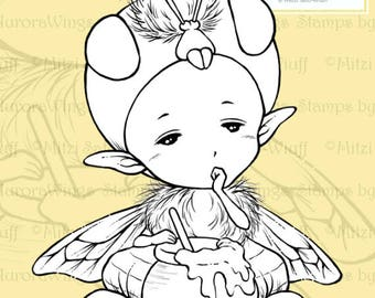 PNG Digital Stamp - Honey Bee Sprite - Sleepy Honeybee with a Pot of Honey - Fantasy Line Art for Cards & Crafts by Mitzi Sato-Wiuff