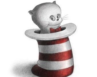 "11X14"" Baby Cat in the Hat like Dr. Seuss might do. Print, signed by the artist, Will Terry"