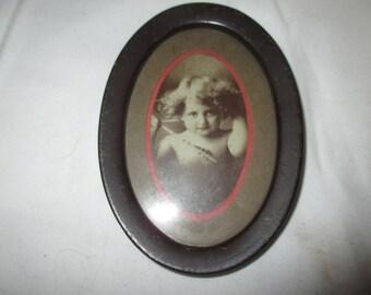 Origina PAIR 1897 CUPID Awake and Asleep TIN Frame Photos By  M.B. Parkinson 4.50 inches Rose Matte