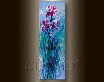 Modern Flower Iris Oil Painting Textured Palette Knife Contemporary Floral Original Art Irises 12X36 by Willson Lau