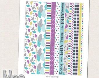 April Printable Washi TapePrintable StripesMasking WashiUmbrella WashiDecorative Planner Stickermonthly View Masking Tapeplanner