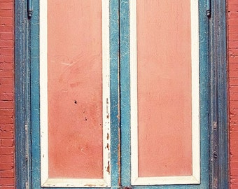 door photography, architecture, blue decor, red decor, fine art photograph, red wall art, blue wall art, The Blue & Red Door