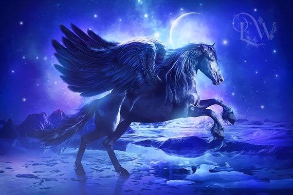 fantasy black Pegasus art print