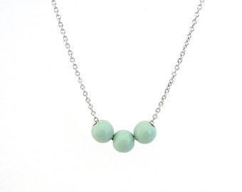 Mint green wood bead necklace, natural jewelry, spring jewelry, pastel wood jewelry, simple necklace