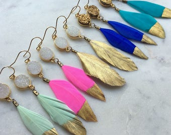 Gold Dipped Feather Earrings, Gold Druzy Earrings, White Druzy Earrings, Feather Earrings, Statement Gold Dipped Feathers, Charming Gardens